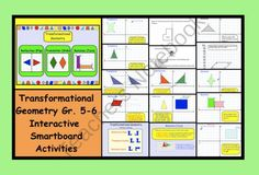 This is a Smart Notebook 11 file. There are 16 pages in this file containing Transformational Geometry lessons and printables suitable for gr. Pg 1 Cover Page Pg 2 Important vocabulary and definitions . Geometry Lessons, Geometry Activities, Math Lessons, Math Activities, Teaching Math, Teaching Ideas, Math Teacher, Smart Board Lessons, Physical Education Games