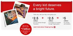 Give With Target: Vote on Facebook to help your K-12 school receive up to 10,000 dollars in Target GiftCards https://www.facebook.com/target/app_461626783866453
