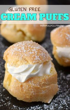 Gluten Free Cream Puffs (Video) - Faithfully Gluten Free These gluten free Cream Puffs have a crisp, outer shell, with a nice large hollow in the middle, perfect for your favorite filling. Gluten Free Cream Puffs Recipe, Gluten Free Pastry, Cream Puff Recipe, Gluten Free Sweets, Gluten Free Cooking, Dairy Free Recipes, Gluten Free Rugelach Recipe, Gluten Free Deserts Easy, Healthy Gluten Free Bread