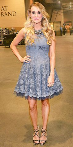 Last Night's Look: Love It or Leave It? | CARRIE UNDERWOOD | Just one day after having a major dress moment at the ACM Awards, Carrie goes back to her country roots in an ultra-girlie dove-gray lace dress and Stella & Dot statement necklace at ACM Presents: An All-Star Tribute to the Troops in Nashville.