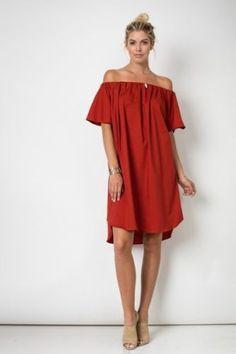 Rust-Off-the-Shoulder-Dress-Oversized-Dress-Midi-Dress-SML-NWT