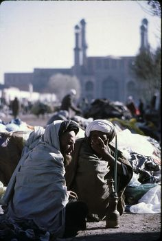 Title: Waterpipe In Herat   Description: Two Afghan men share a waterpipe before the Jummah Mosque.      Location: Herat  Circa: 1974   Photographer: Wendy Tanner - ♥♂♀