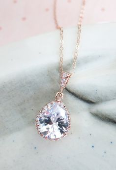 Rose gold plated cubic zirconia teardrop comes on a rose gold filled chain. http://www.jangmijewelry.com/