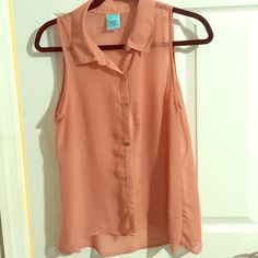 Sheer Button up blouse USED✅ sheer blouse perfect for spring/summer final price. Happening in the present Tops Blouses