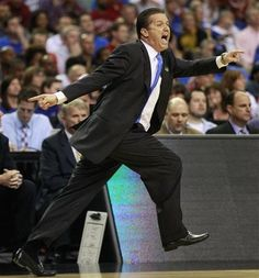 Kentucky head coach John Calipari reacts to play against Indiana during the first half of an NCAA tournament South Regional semifinal college basketball game Friday, March 23, 2012, in Atlanta