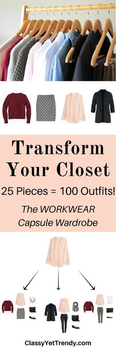 The Workwear Capsule Wardrobe: Fall 2016 Collection - Turn 25 clothes and shoes into 100 outfits!  An olive cardigan, black blazer, burgundy cardigan, chambray shirt, black patterned skirt, blush blouse, pencil skirt, black pants, gray pants, black heels, leopard flats and nude pumps.