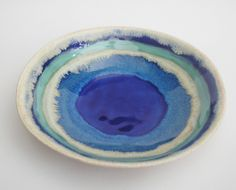 Handmade ceramic bowl decorative serving dish.. Indigo Pool