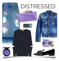 """""""True Blue: Distressed Denim"""" by alinepinkskirt ❤ liked on Polyvore featuring MARCOBOLOGNA, Dsquared2, Clé de Peau Beauté, MANGO, Adeam, Chiara P, MAC Cosmetics and Winky Lux"""