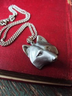 Vintage Pewter Fox Pendant Necklace Marked by primitivepincushion, $24.50
