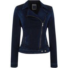 Salsa Providence Biker denim jacket ($75) ❤ liked on Polyvore featuring outerwear, jackets, coats, denim dark wash, women, biker style jacket, blue jackets, blue biker jacket, blue denim jacket and denim jacket