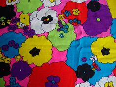 Vintage 60s Fabric Hot Pink and Black Neon by CuteBrightFun, $36.00