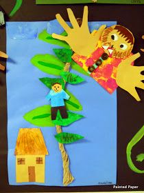 Painted paper: jack and the beanstalk collage paint grade art lesson project Fairy Tale Crafts, Fairy Tale Theme, Fairy Tale Activities, Art Activities, Eyfs Jack And The Beanstalk, Nursery Rhyme Crafts, Nursery Rhymes, Cute Art Projects, Fairy Tales Unit