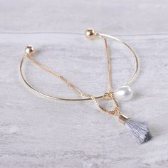 Double Layer Tassel And Pearl Charm Bracelet