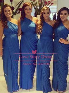 One Shoulder Blue Chiffon Plus size Bridesmaid Dresses Women Maxi Long Dress for Wedding Party Gown 2014 New Fashion US $96.90