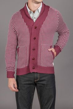 Di Lascias Bakery Giovanni Jaquared Cardi with Leather Knot Buttons & Suede Elbow Patch Maroon