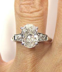 1930s...2.12ct Antique Vintage Platinum OVAL Cut Diamond  SOLITAIRE Engagement Ring Wedding Band. $8,950.00, via Etsy.