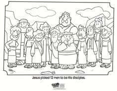 Kids coloring page from What's in the Bible? featuring the 12 disciples. Volume 10: Jesus is the Good News!
