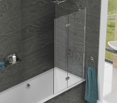 Kudos Inspire Two Panel Infold Shower Screen Right hand toughened glass Highly polished silver frame Lifetime guarantee wallpost adjustment Lifeshield glass protection Unique click-to-lock hinge mechanism Also available left hand*