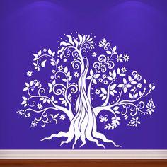Tree Wall Decals Family Fancy Flower Leaves Bedroom Kids Murals Sticker MR768 #Stickalz
