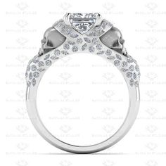 Picture of 'Le Reve' 2.20ct Princess cut White Diamond White Gold Skull Engagement Ring
