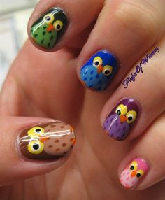 Owl Of a Different Color by flightofwhimsy - Nail Art Gallery nailartgallery.nailsmag.com by Nails Magazine www.nailsmag.com #nailart