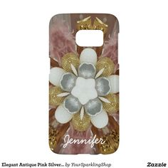 Elegant Antique Pink Silver Gray Gold White Flower Case with Name