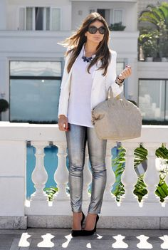 Metallic Jeans Fall 2012: Make the metallic jeans the star piece of your outfit by pairing with pieces in neutral colors. Play up the metallic a bit by wearing mixed-metal jewelry! Yes, you can wear gold and silver jewelry at the same time!