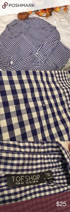 Topshop Blue and White Plaid Shirt Size 10 Great used condition! There is a small spot on the front showing some thread tugs (shown in images)  other than that, no flaws! 100% cotton Topshop Tops Button Down Shirts