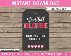 Valentine's Day Gift Tags Template | editable & printable | Be my Valentine | INSTANT DOWNLOAD $3.00 via simonemadeit.com