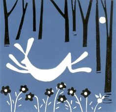 March Hare Linocut Print Hand Pulled - Blue and Black - Magical Forest,Original Limited Edition by Giuliana Lazzerini. Fisherman Gifts, Magical Forest, Family Print, Linocut Prints, Woodblock Print, Blue Bird, Illustration Art, Illustrations, Screen Printing