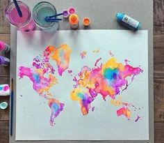 Image via We Heart It #art #beautiful #colour #map #paint #world