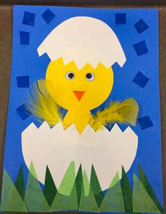 Spring or Easter kindergarten project. Tissue paper, feathers, google eyes, construction paper. Tracers for egg shells. Inspiration from: http://youngschoolart.blogspot.com/?m=1