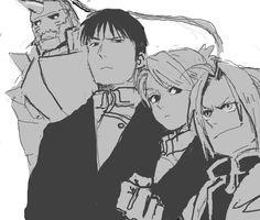 Fullmetal Alchemist: Al, Roy, Riza, and Ed