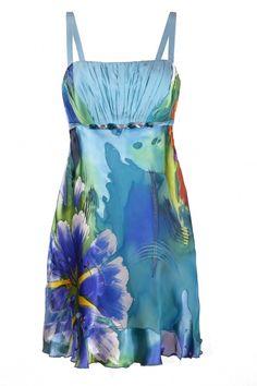 Niebieska sukienka w kwiaty kolekcja MarylaW