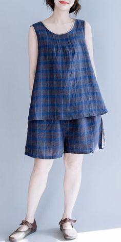 Women Blue Two piece Plaid Vest With Shorts For Summer Night Suit For Women, Suits For Women, Clothes For Women, Kurta Designs, Blouse Designs, Girls Night Dress, Looks Hippie, Western Dresses For Women, Fashion Outfits