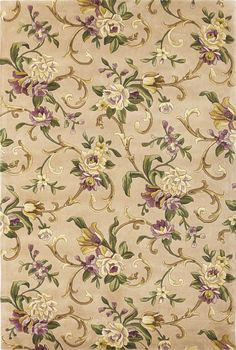 Abbington Beige Floral Wool Hand-Tufted Area Rug