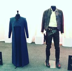 The costumes of Han Solo [Harrison Ford] and General Leia Organa [Carrie Fisher] in Star Wars The Force Awakens