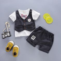 Mr.Macy Toddler Boys Pineapple T-Shirt Tops Solid Short Casual Outfit Set
