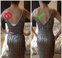 DIY: How to make a bra strap converter for low-back dresses - Extra Petite Petite Fashion, Diy Fashion, Fashion Tips, Fashion Hacks, Bh Tricks, Moda Petite, Low Back Bra, Low Back Strapless Bra, Diy Bra
