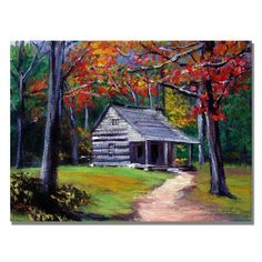 Trademark Art Old Cabin Canvas Wall Art by David Lloyd Glover, Size: 24 x Multicolor Painting Prints, Painting & Drawing, Acrylic Paintings, Wood Paintings, Canvas Wall Art, Canvas Prints, Old Cabins, Gouache, Artist Canvas