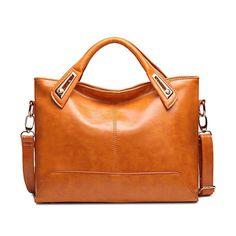 db61a762e63a Oil Wax Leather Women Elegant Handbag Tote Bag Square Shoulder Bag Genuine  Leather Crossbody Bag is designer