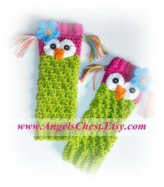 PDF Crochet Pattern Owl Leg Warmers or Leggings by AngelsChest