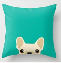 Free shipping French Bulldog on blue background (two sides)Pillow Cases for 12x12 14x14 16x16 18x18 20x20 24x24 inch
