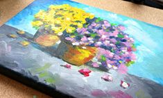 Flower painting in acrylics on canvas - Video tutorial and step by step tutorial on how to paint flower pots on canvas. Painting Videos, Painting & Drawing, Acrylic Tutorials, Painted Flower Pots, Happy Paintings, Small Leaf, Small Canvas, Acrylic Canvas, White Paints