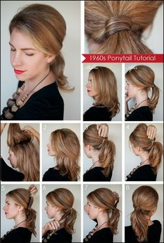 Step by step ponytail tutorial ,Pretty braided Updo  hairstyles for long to medium length hair.