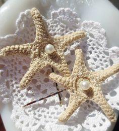 Cute! Bobby Pins Starfish Pearl Crochet Ecru Beach Chic 2 by BlancheB #mermaid