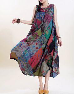 Romantic sleeveless long sundress by MaLieb on Etsy