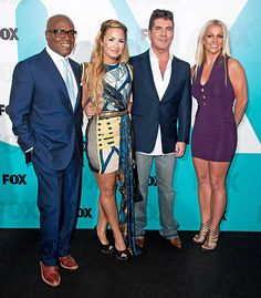 LA Reid, Simon Cowell, Demi Lovato, and Britney Spears. X Factor USA