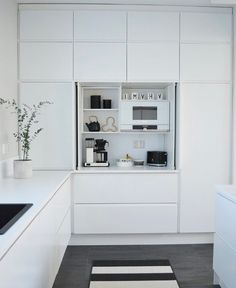 Kitchen Furniture, Kitchen Interior, Kitchen Dining, Kitchen Decor, Condo Interior Design, Apartment Design, Armoire, Minimalist Kitchen, Home Kitchens
