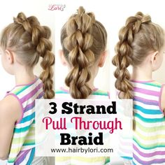 3 Strand Pull Through Braid - long video tutorial, easy style for MJ, looks like a braid mohawk!